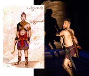 Kendra's sketch of Gilgamesh costume and the final costume on Joel David Santner